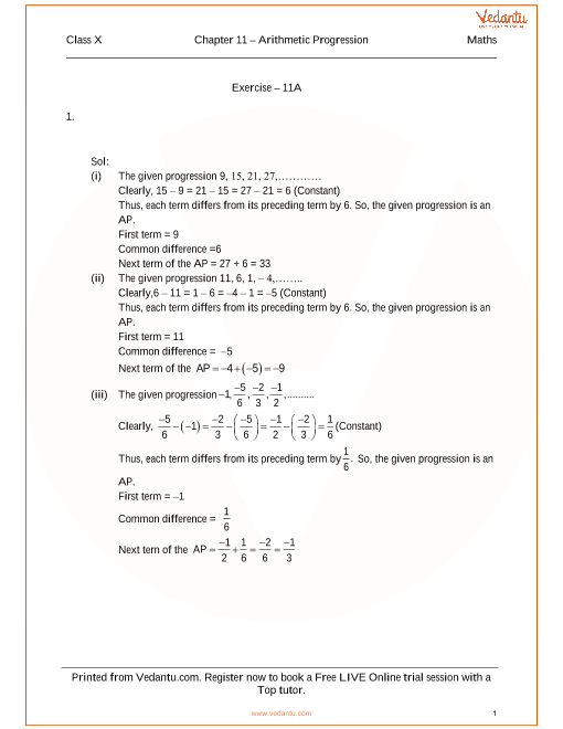 RS Agarwal Class 10 Solutions Chapter 11 Arithmetic Progression part-1
