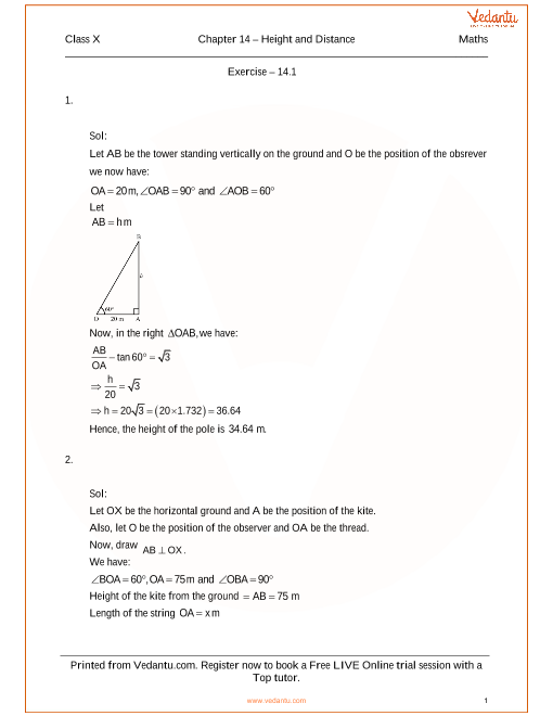 RS Agarwal Class 10 Solutions Chapter 14 Height and Distances part-1