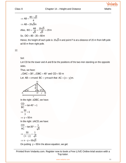 Rs aggarwal class 10 solutions chapter 14 height and distances fandeluxe Images