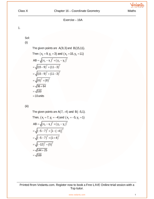 RS Agarwal Class 10 Solutions Chapter 16 Coordinate Geometry part-1