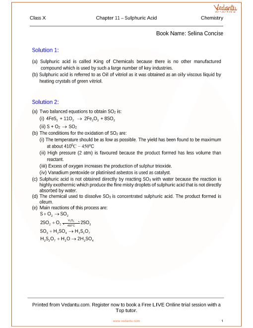 Chapter -11 Sulphuric Acid part-1