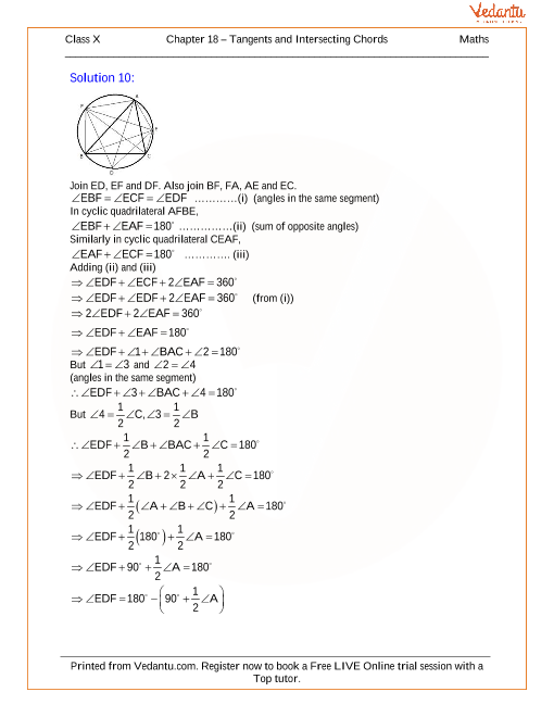 Tangents And Intersecting Chords Solutions For Icse Board Class 10