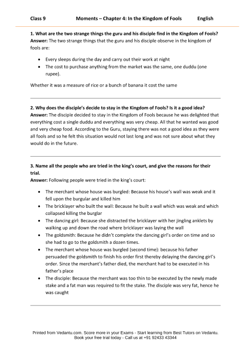 ncert solutions for class 10 english literature chapter 3