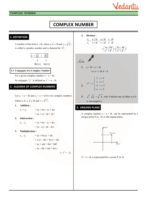 Chapter 5 - Complex Numbers and Quadratic Equations Revision Notes part-1