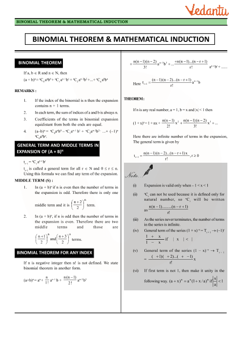 Chapter 8 - Binomial Theorem Revision Notes part-1