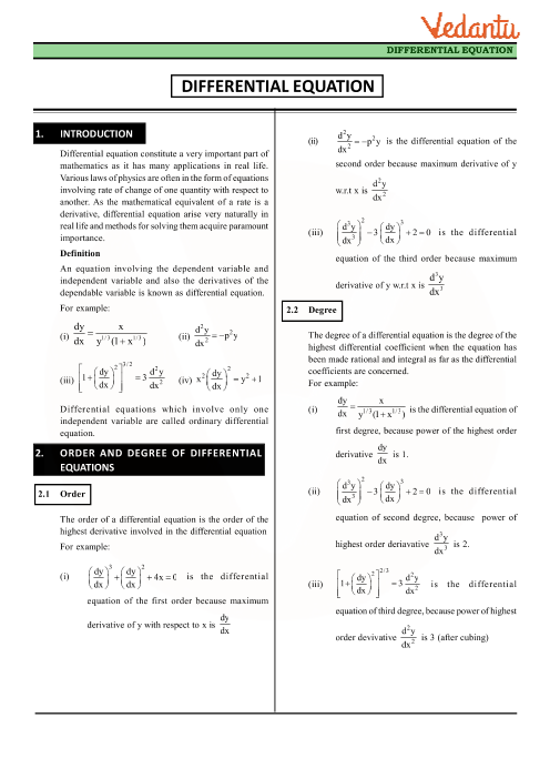 Chapter 9 - Differential Equations Revision Notes part-1