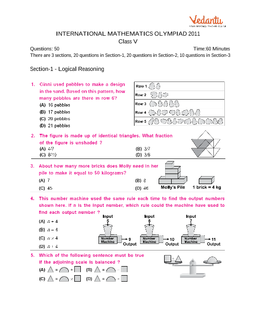 international mathematics olympiad class 4 question papers