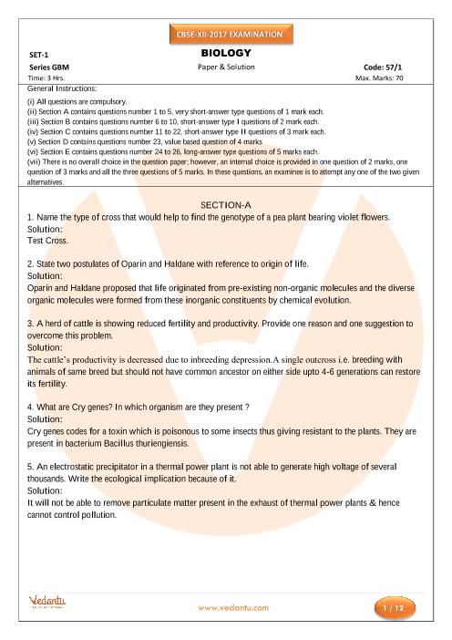 CBSE Class 12 Board Question Paper Biology-2017 part-1