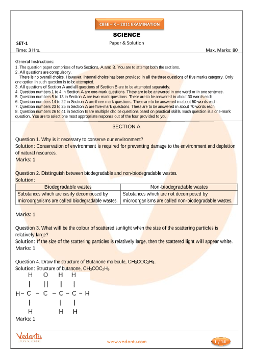 CBSE Class 10 Science Previous Year Question Paper 2011 part-1