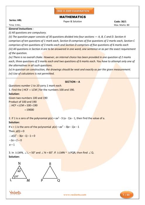CBSE Class 10 Maths Previous Year Question Paper 2009 part-1