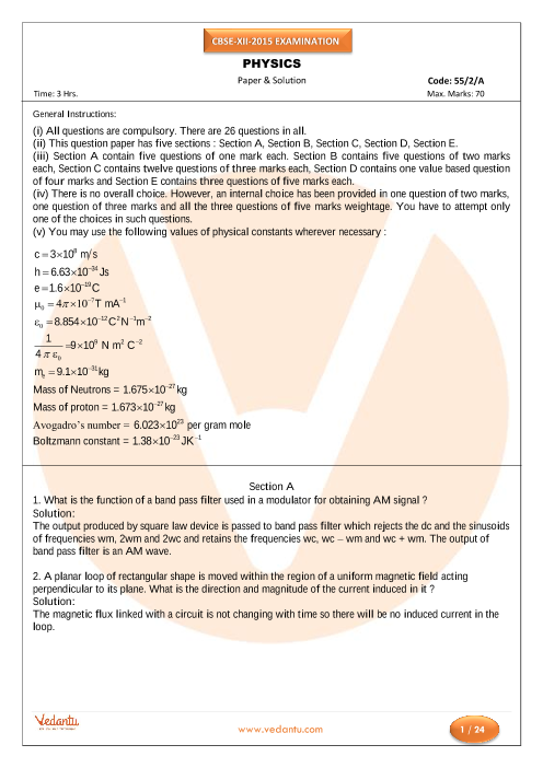 CBSE Class 12 Board Question Paper Physics-2015 part-1