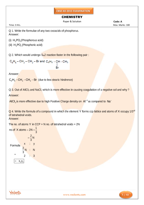 CBSE Class 12 Board Question Paper Chemistry-2015 part-1