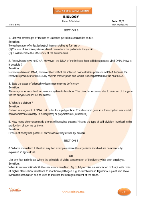 CBSE Class 12 Board Question Paper Biology-2015 part-1