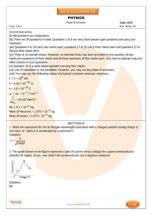 CBSE Class 12 Board Question Paper Physics-2013 part-1