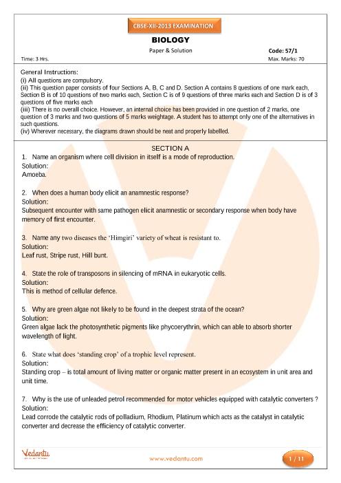 CBSE Class 12 Board Question Paper Biology-2013 part-1