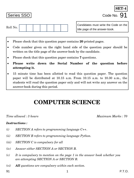 CBSE Class 12 Computer Science Board Paper-2015 part-1