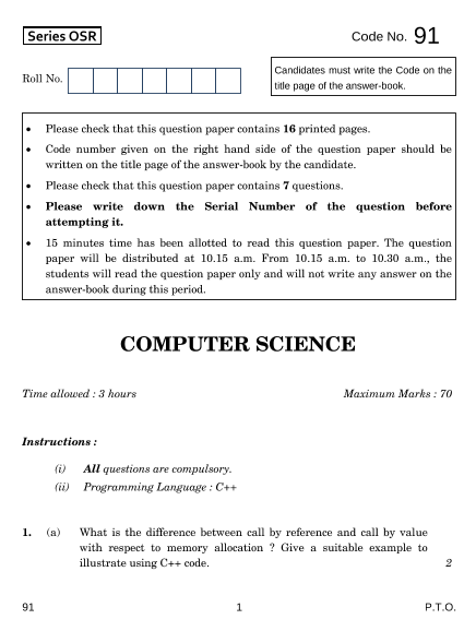 CBSE Class 12 Computer Science Question Paper-2014 part-1