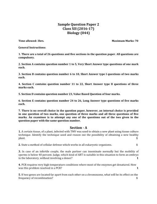 Cbse sample question paper for class 12 biology mock paper 2 cbse class 12 biology sample paper 2016 17 part 1 malvernweather Image collections