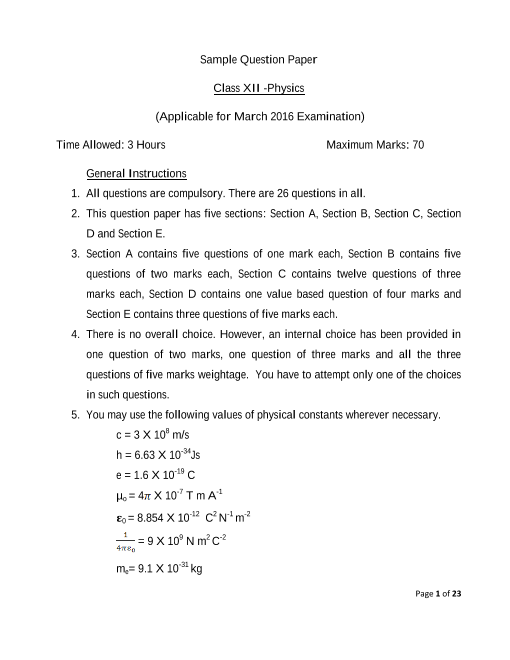 CBSE Class 12 Physics Sample Paper 2015-2016 part-1