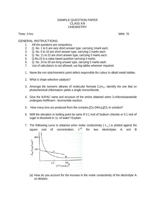 CBSE Class 12 Chemistry Sample Paper 2015-2016 part-1