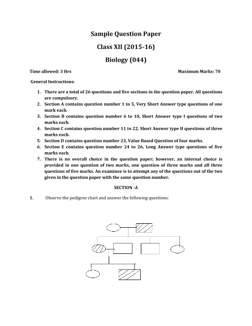CBSE Class 12 Biology Sample Paper 2015-2016 part-1