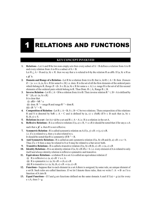 Chapter-1 Relations and Functions Formula part-1