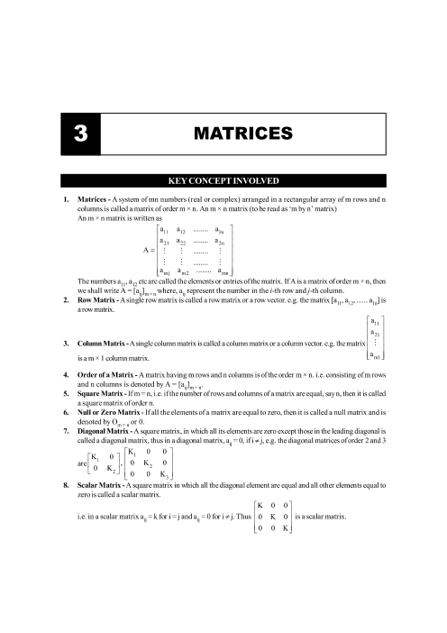 Chapter-3 Matrices Formula part-1