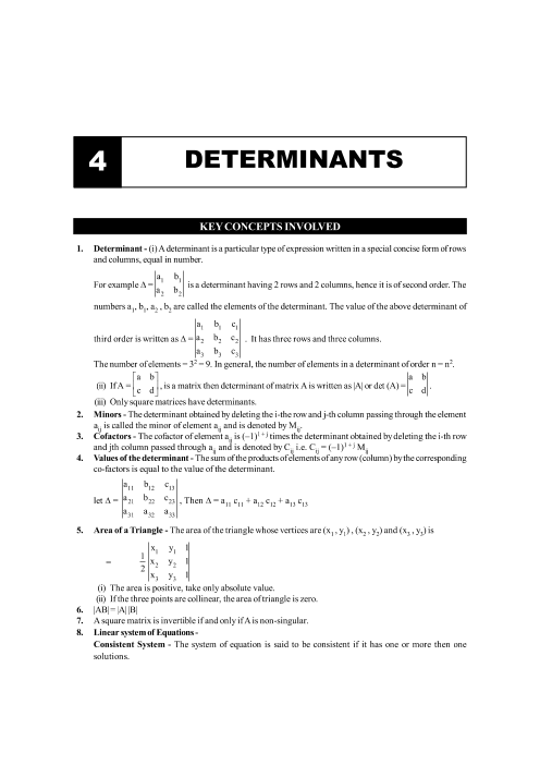 Chapter-4 Determinants Formula part-1