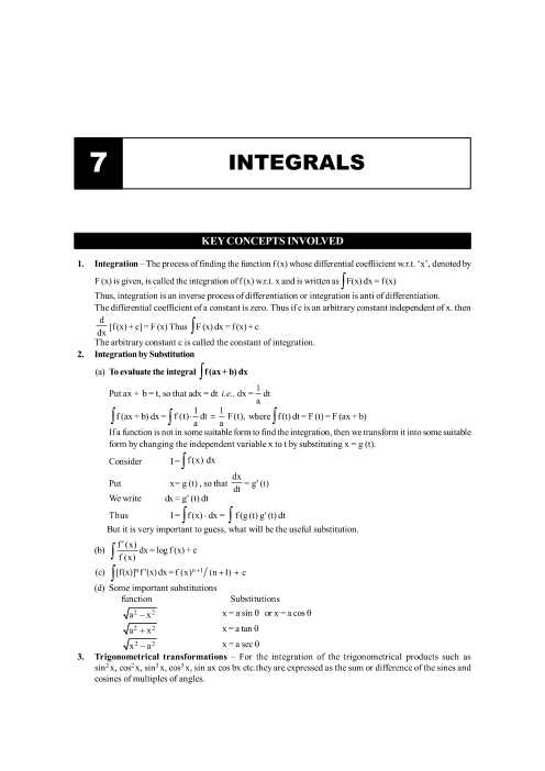 Chapter-7 Integrals Formula part-1