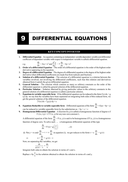 Chapter-9 Differential Equations Formula part-1
