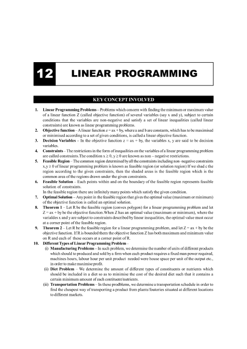 Chapter-12 Linear Programming Formula part-1