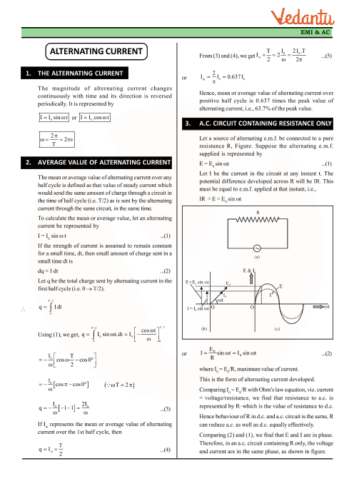 Chapter 7 - Alternating Current Revision Notes part-1