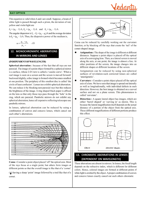 class 12 physics revision notes for chapter 9 ray optics and