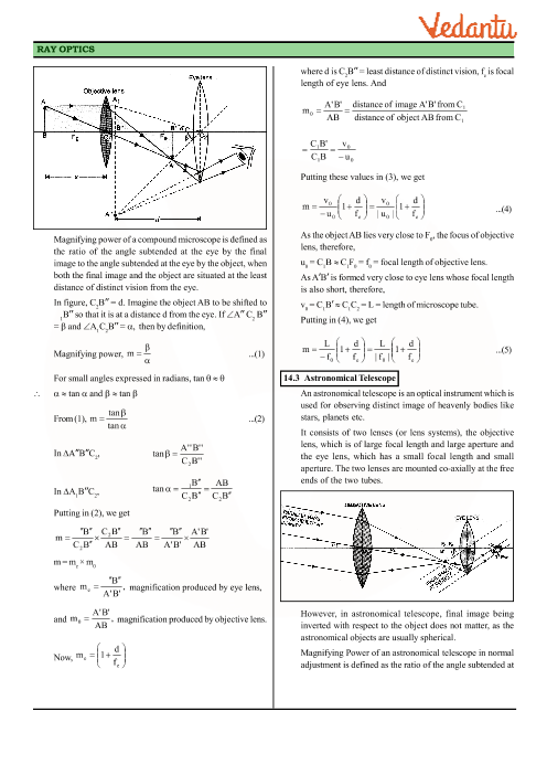 6435df3b71 Class 12 Physics Revision Notes for Chapter 9 - Ray Optics and Optical  Instruments