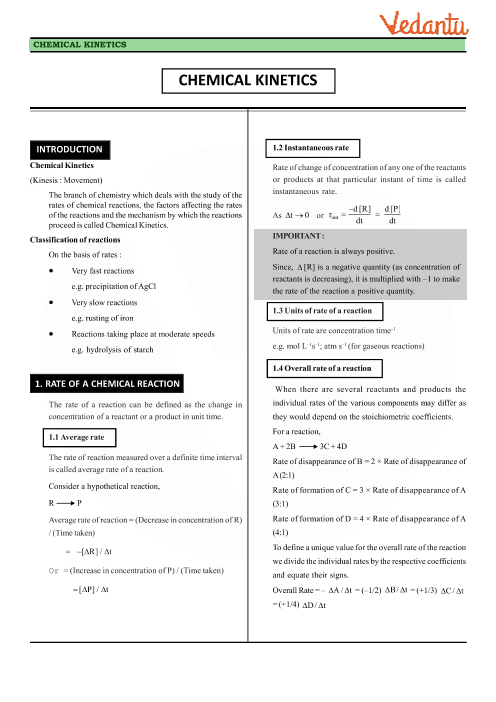 Chapter 4 - Chemical Kinetics Revision Notes part-1