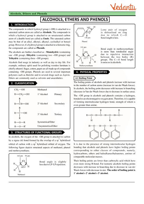 Chapter 11 - Alcohols, Phenols and Ethers Revision Notes part-1