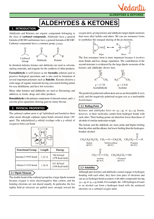 Chapter 12 - Aldehydes, Ketones and Carboxylic Acids Revision Notes part-1