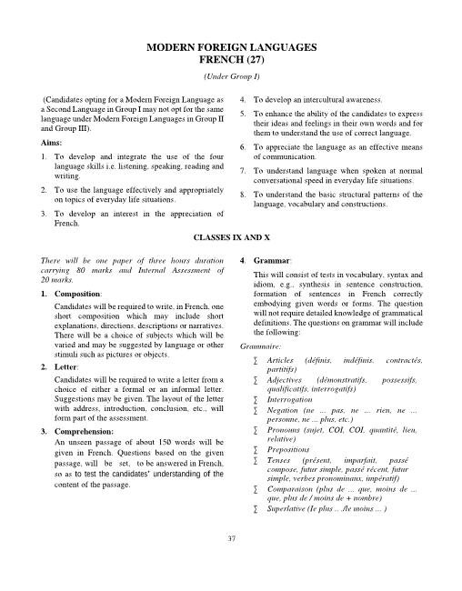 5.ICSE Class 10 French Syllabus part-1