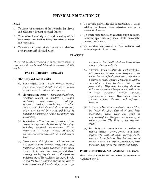 27.ICSE Class 10 Physical Education Syllabus part-1