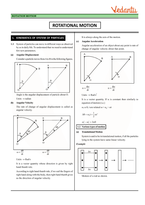 Chapter 7 - Systems of Particles and Rotational Motion Revision Notes part-1