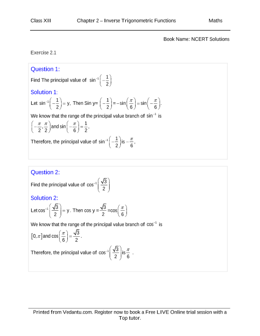 NCERT Solutions for Class 12 Maths Chapter 2 part-1