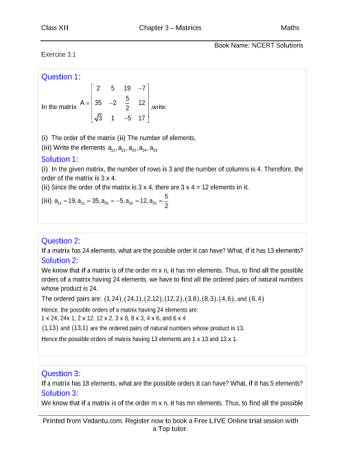 NCERT Solutions for Class 12 Maths Chapter 3 part-1