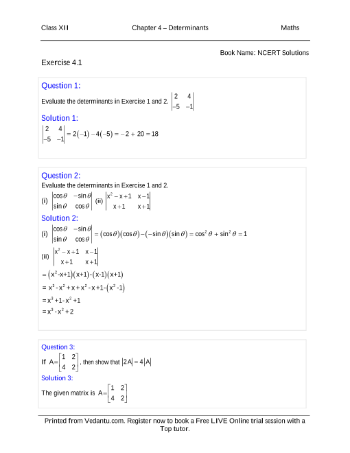 Determinants Ncert Solutions Pdf
