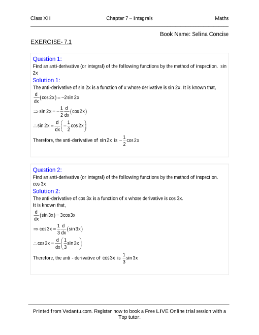 NCERT Solutions for Class 12 Maths Chapter 7 part-1