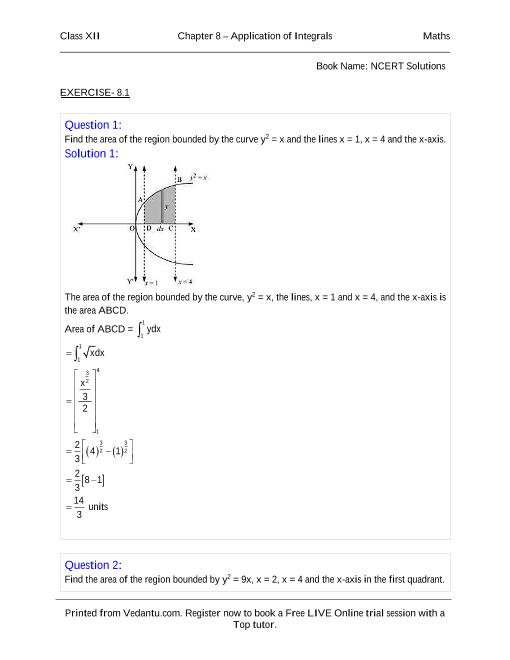 NCERT Solutions for Class 12 Maths Chapter 8 part-1
