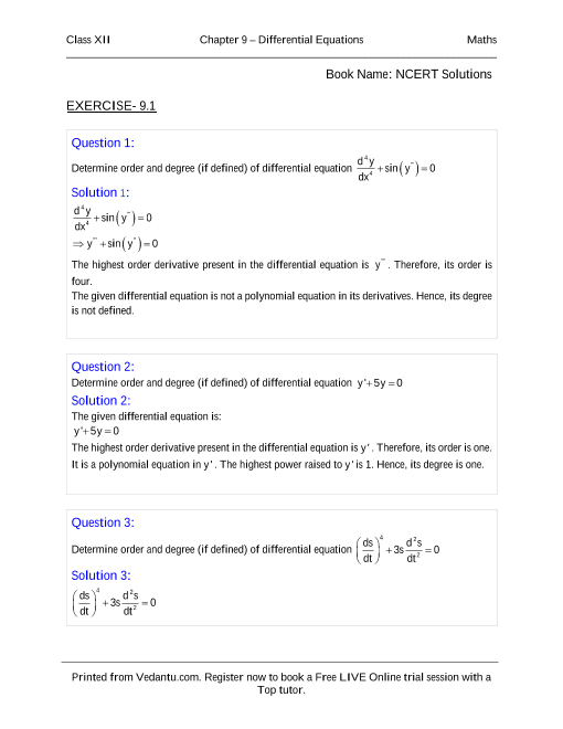 NCERT Solutions for Class 12 Maths Chapter 9 part-1