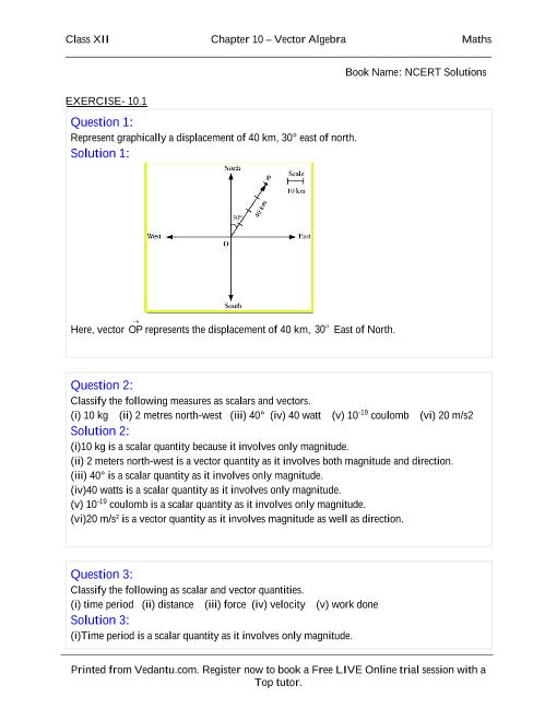 NCERT Solutions for Class 12 Maths Chapter 10 part-1