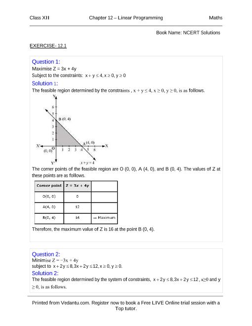 NCERT Solutions for Class 12 Maths Chapter 12 part-1