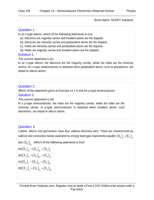 NCERT Solutions for Class 12 Physics Chapter 14 part-1