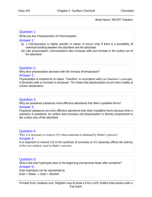 NCERT Solutions for Class 12 Chemistry Chapter 5 part-1